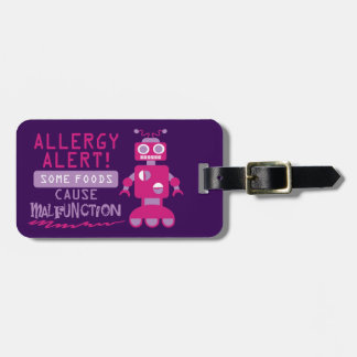 Customizable Multiple Food Allergy Robot Alert Luggage Tag