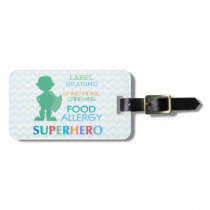 Customizable Multiple Food Allergy Superhero Alert Luggage Tag