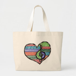 Customizable Music Heart Treble Clef Doodle Tote Bag