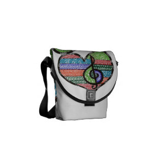 Customizable Music Heart Treble Clef Doodle Courier Bags