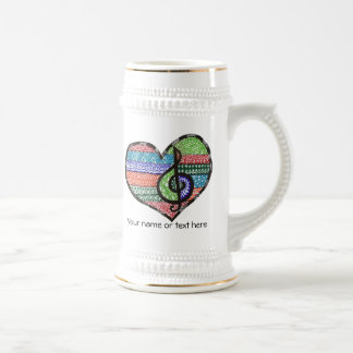 Customizable Music Heart Treble Clef Doodle 18 Oz Beer Stein
