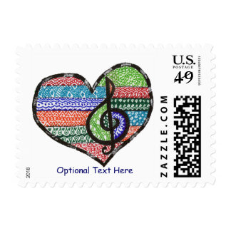 Customizable Music Heart Treble Clef Doodle Postage Stamps