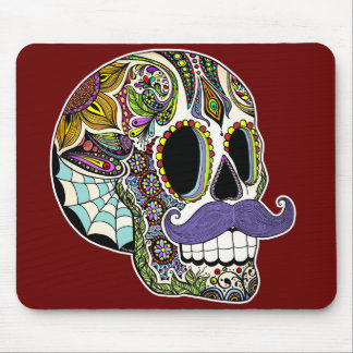 Customizable Mustache Sugar Skull Mousepad