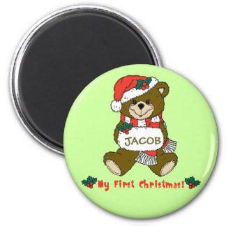 Customizable My First Christmas Teddy Bear Tee Magnet
