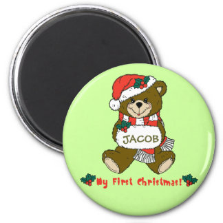 Customizable My First Christmas Teddy Bear Tee Refrigerator Magnet