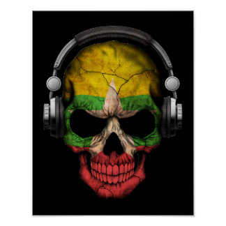 Customizable Myanmar Dj Skull with Headphones Poster