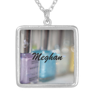 Customizable Nail Polish Silver Plated Necklace