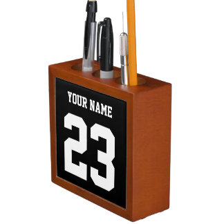 Customizable name and number pencil holder