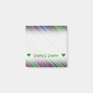 Customizable Name; Black & Colorful Lines Pattern Post-it Notes