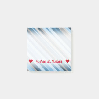 Customizable Name; Blue and Grey Stripes Notes