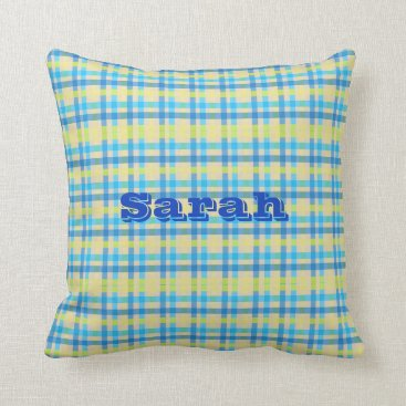 galxc_designs Customizable Name Blue and Yellow Gingham Pillow