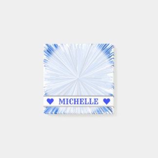 Customizable Name - Blue Line Burst Pattern Notes