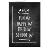 Customizable Name Chalkboard Look Back to School Card
