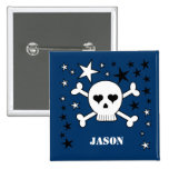 Customizable Name Cute Skull and Crossbones 2 Inch Square Button