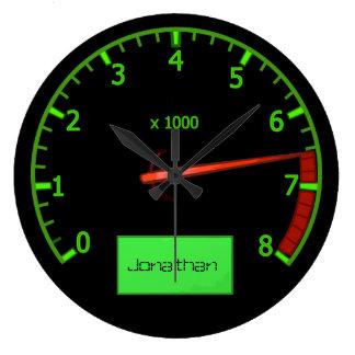 Customizable name gearhead car Fan Large Clock