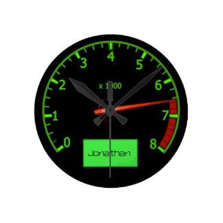 Customizable name gearhead car Fan Round Clock