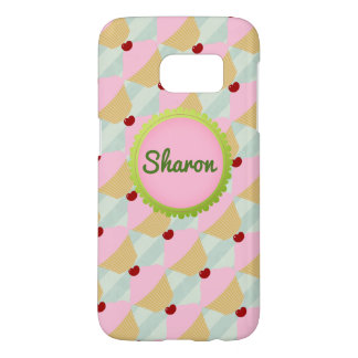 Customizable Name Green and Pink Cupcake SG7 Samsung Galaxy S7 Case