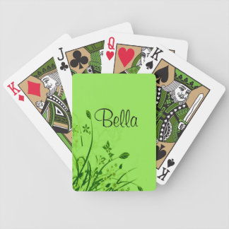 Customizable Name Green Flowers & Butterfly Bicycle Poker Cards
