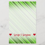 [ Thumbnail: Customizable Name; Green Lines/Stripes Pattern Stationery ]