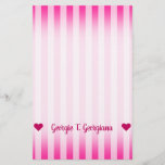 [ Thumbnail: Customizable Name; Light Pink & Deep Pink Stripes Stationery ]