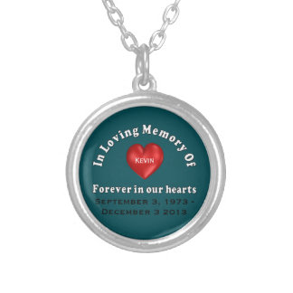 Customizable Name Memorial Products Loving Memory Round Pendant Necklace