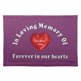 Customizable Name Memorial Products Loving Memory Cloth Place Mat