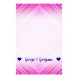 [ Thumbnail: Customizable Name; Nested Pink Squares Pattern Stationery ]