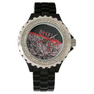 Customizable Name OLIVIA Camo and Bow Watch
