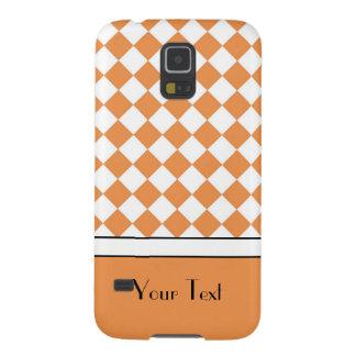 Customizable Name Peach Orange White Diamond Check Case For Galaxy S5