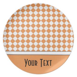 Customizable Name Peach Orange White Diamond Check Dinner Plate