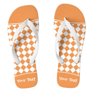 Customizable Name Peach Orange White Diamond Check Flip Flops