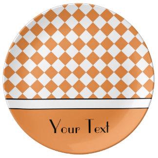 Customizable Name Peach Orange White Diamond Check Porcelain Plates
