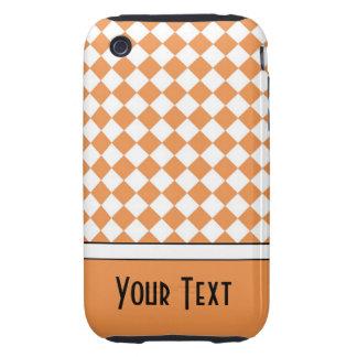 Customizable Name Peach Orange White Diamond Check Tough iPhone 3 Cover