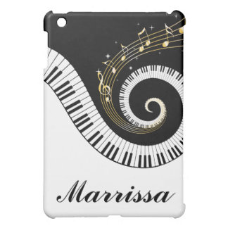 Customizable Name Piano Keys and Gold Music Notes iPad Mini Case