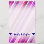 [ Thumbnail: Customizable Name; Pink, Purple Stripes Pattern Stationery ]