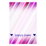 [ Thumbnail: Customizable Name; Pink, Purple Stripes Pattern Stationery ]