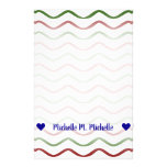 [ Thumbnail: Customizable Name; Red & Green Wavy Lines Pattern Stationery ]