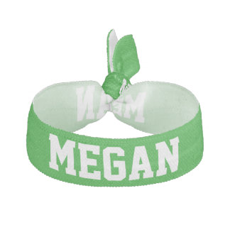 Customizable Name School Spirit Design Green Elastic Hair Tie