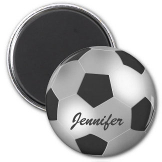 Customizable Name silver Soccer Ball Magnets