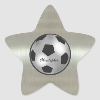 Customizable Name Silver Soccer Ball star Stickers