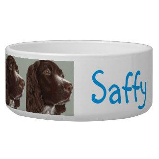 customizable (name) spaniel dog bowl