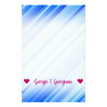 [ Thumbnail: Customizable Name; Stripes of Blue Pattern Stationery ]