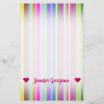 [ Thumbnail: Customizable Name; Stripes of Various Colors Stationery ]