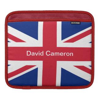 Customizable Name Union Jack UK Flag iPad Sleeves