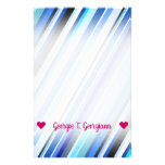 [ Thumbnail: Customizable Name; Various Shades of Blue Stripes Stationery ]