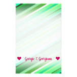 [ Thumbnail: Customizable Name; Various Shades of Green Stripes Stationery ]
