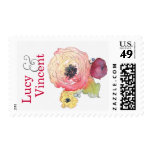Customizable Name Watercolor Peony Flower Stamp