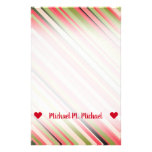 [ Thumbnail: Customizable Name; Watermelon-Inspired Stripes Stationery ]