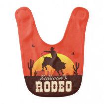 Customizable NAME Western Cowboy Bull Rider Rodeo Baby Bib