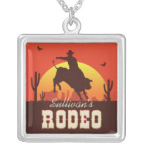 Customizable NAME Western Cowboy Bull Rider Rodeo Silver Plated Necklace